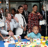 Crown Princess of Sweden Victoria visits kids under chemotherapy treatment at the National Cancer Institute (INEN) in Lima, Peru, October 20 2015. The Princess is in the second day of her visit to Peru along with her husband  Daniel Westling.<br /> <br /> <br /> Foto Geraldo Caso/Archivolatino/Astufoto