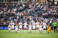 TACOMA, WA - JULY 31: Racing Louisville FC during the national anthem before a game between Racing Louisville FC and OL Reign at Cheney Stadium on July 31, 2021 in Tacoma, Washington.