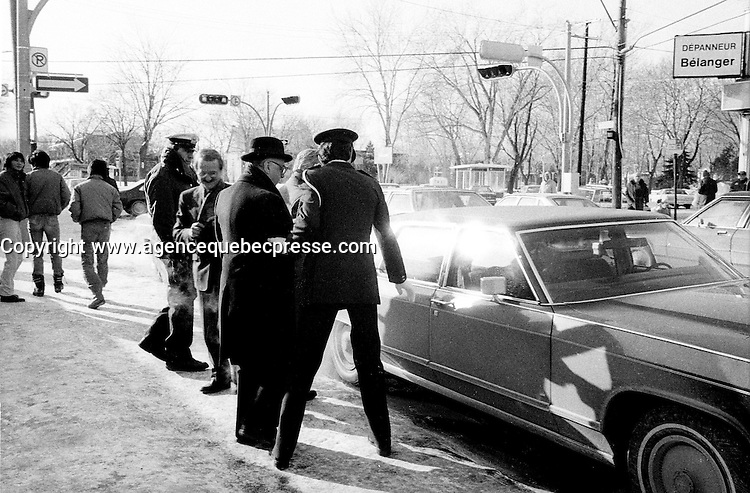 January 9, 1984 File Photo - - Jean Drapeau, Montreal Mayor get into his limo after the inauguration of the 3 new metro (subway) station : <br /> Namur, De La Savane and Du College.