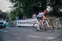 Tom Skujins (LAT/Trek Segafredo) 500 meters from the finish<br /> <br /> Stage 5: Lorient > Quimper (203km)<br /> <br /> 105th Tour de France 2018<br /> ©kramon
