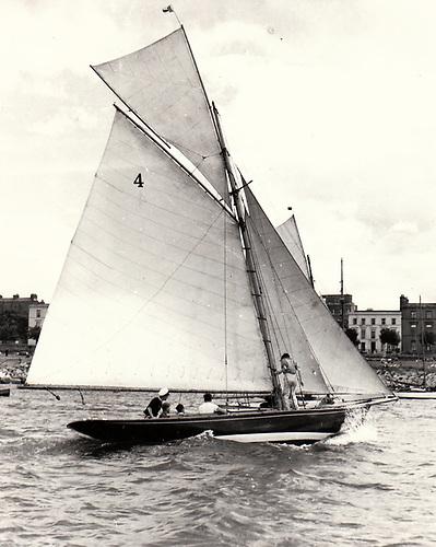 Garavogue in her heyday under her original rig in Dun Laoghaire Harbour sixty years ago.