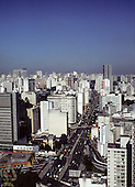 Sao Paulo, Brazil. High view showing inner ring road running between high-rise buildings.