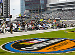Sprint Cup Series drivers get ready to race before the Nascar Sprint Cup Series AAA Texas 500 race at Texas Motor Speedway in Fort Worth,Texas. Sprint Cup Series driver Tony Stewart (14) wins the AAA Texas 500 race.