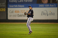 Missoula Osprey right fielder Tristen Carranza (37) during a Pioneer League game against the Great Falls Voyagers at Centene Stadium at Legion Park on August 19, 2019 in Great Falls, Montana. Missoula defeated Great Falls 1-0 in the second game of a doubleheader. (Zachary Lucy/Four Seam Images)