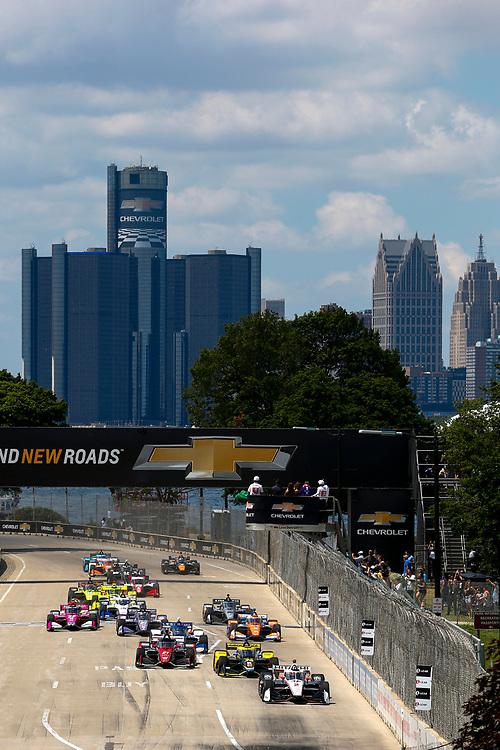 #2: Start, Josef Newgarden, Team Penske Chevrolet <br /> #26: Colton Herta, Andretti Autosport Honda<br /> #21: Rinus VeeKay, Ed Carpenter Racing Chevrolet<br /> #27: Alexander Rossi, Andretti Autosport Honda