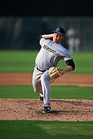 Trenton Thunder relief pitcher Jordan Foley (30) delivers a pitch during the first game of a doubleheader against the Bowie Baysox on June 13, 2018 at Prince George's Stadium in Bowie, Maryland.  Trenton defeated Bowie 4-3.  (Mike Janes/Four Seam Images)