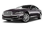 Stock pictures of low aggressive front three quarter view of 2016 Jaguar XJ Premium Luxury 4 Door Sedan Low Aggressive
