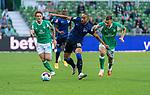 19.09.2020, wohninvest Weserstadion, Bremen, GER,  SV Werder Bremen vs Hertha BSC Berlin, <br /> <br /> <br />  im Bild<br /> <br /> Ondrej Duda (Hertha BSC #10)<br /> Joshua Sargent (Werder Bremen #19)<br /> Maximilian Eggestein (Werder Bremen #35)<br /> <br /> Foto © nordphoto / Kokenge<br /> <br /> DFL regulations prohibit any use of photographs as image sequences and/or quasi-video.