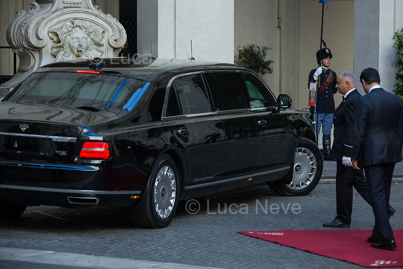 Giuseppe Conte (Italian Prime Minister).<br /> <br /> Rome, 04/07/2019. Today, the four-time President of the Russian Federation, Vladimir Putin, visited Palazzo Chigi (Official Residence of the Italian Prime Minister and official meeting place of the Council of the Ministers) where he had a private meeting and a press conference with the Italian Prime Minister, Giuseppe Conte. During his visit to Italy, President Putin met Pope Francis, the President of the Italian Republic, Sergio Mattarella, and his old friend and Italian politician, Silvio Berlusconi.<br /> <br /> Footnotes and Links:<br /> For a Video of the Press Conference please click here (Source, Palazzo Chigi on Youtube): https://youtu.be/4Bdssi0L9PI