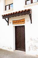 The entrance to the winery, restaurant and auberge: Vinski Podrum. Vinarija Stankela Stanko winery, Medugorje, near Mostar. Medjugorje. Federation Bosne i Hercegovine. Bosnia Herzegovina, Europe.