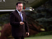 Dan Scavino, White House Deputy Chief of Staff for Communications, looks at his phone as he returns to the White House with President Donald Trump and First Lady Melania Trump, in Washington, DC on Wednesday, May 27, 2020. President Trump and the First Lady are returning from NASA's Kennedy Space Center where they were scheduled to watch the SpaceX Mission 2 launch. The launch was postponed due to weather. <br /> Credit: Kevin Dietsch / Pool via CNP/AdMedia
