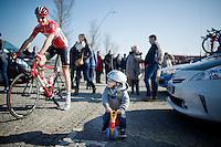 """""""I'll escort you to the start daddy!""""<br /> Sander Armée (BEL/Lotto-Soudal) & son off the the start podium together<br /> <br /> 3 Days of West-Flanders 2015<br /> stage 2: Nieuwpoort - Ichtegem 184km"""
