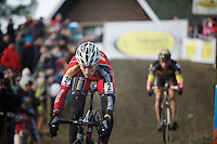 Kevin Pauwels (BEL/Sunweb-Napoleon Games) racing to console his overall lead in the Bpost Bank Trophy with (local rider) Sven Nys (BEL/Crelan-AAdrinks) right behind<br /> <br /> GP Sven Nys 2015