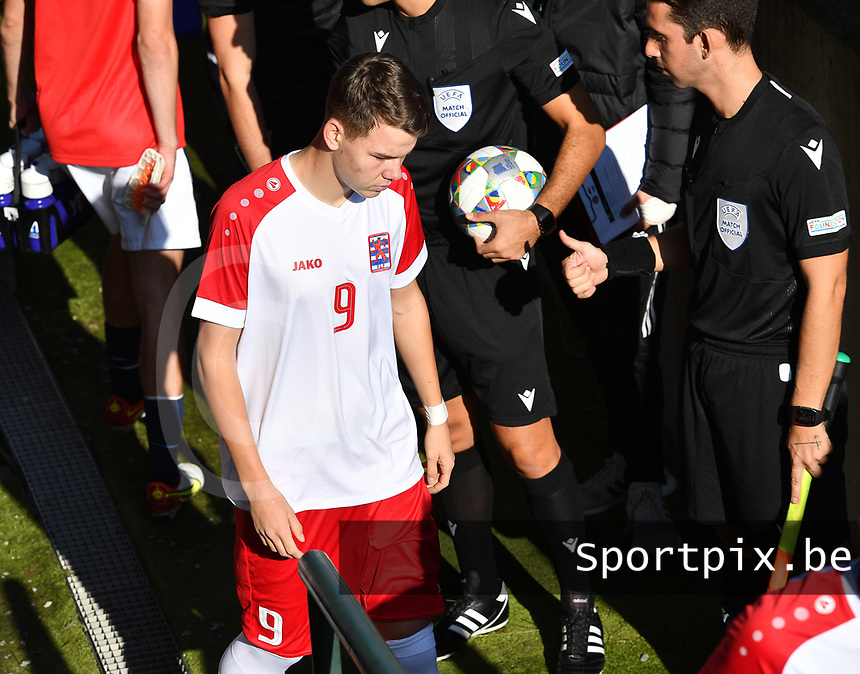 Jayson Videira Pereira of Luxemburg pictured in action during a soccer game between the national teams Under17 Youth teams of  Norway and Luxemburg on day 2 in the Qualifying round in group 3 on saturday 9 th of October 2020  in Tubize , Belgium . PHOTO SPORTPIX | DAVID CATRY
