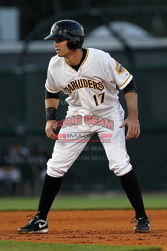 April 21, 2010 Infielder Jeremy Farrell of the Bradenton Marauders, Florida State League Class-A affiliate of the Pittsburgh Pirates, during a game at McKenhnie Field in Bradenton Fl. Photo by: Mark LoMoglio/Four Seam Images