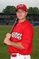 Batavia Muckdogs third baseman Alan Ahmady (9) poses for a photo before minicamp team practice at Dwyer Stadium in Batavia, New York June 14, 2010.   Photo By Mike Janes/Four Seam Images