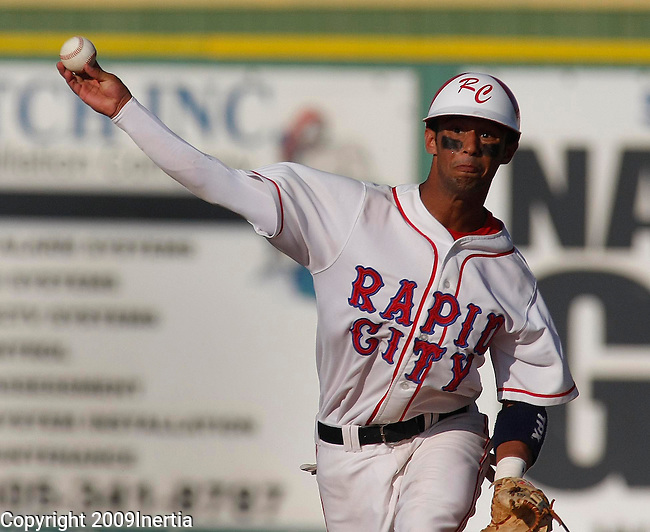 RAPID CITY, SD -- AUGUST 1, 2009 -- Donte Bledsoe of Rapid City Post 22 makes a throw to first for a putout against Watertown at th 2009 South Dakota State American Legion Baseball Tournament at Floyd Fitzgerald Stadium Saturday. (Photo by Dick Carlson/Inertia)
