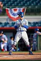 St. Lucie Mets shortstop Andres Gimenez (12) at bat during a game against the Florida Fire Frogs on April 19, 2018 at Osceola County Stadium in Kissimmee, Florida.  St. Lucie defeated Florida 3-2.  (Mike Janes/Four Seam Images)