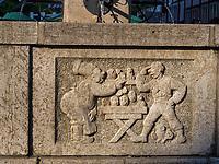 Detail Till Eulenspiegel Brunnen am Marktplatz, Einbeck, Niedersachsen, Deutschland, Europa<br /> detail, Till Eulenspiegel Fountain at market place, Einbeck, Lower Saxony, Germany, Europe