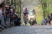 Alexander Kristoff (NOR/UAE) coming over the Kemmelberg (2nd ascent)<br /> <br /> 81st Gent-Wevelgem 'in Flanders Fields' 2019<br /> One day race (1.UWT) from Deinze to Wevelgem (BEL/251km)<br /> <br /> ©kramon