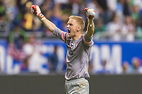 United States' goalkeeper William Yarbrough (22) celebrates at the conclusion of an international friendly at the Alamodome, Wednesday, April 15, 2015 in San Antonio, Tex. USA defeated Mexico 2-0. (Mo Khursheed/TFV Media via AP Images)