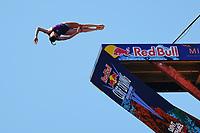 12th June 2021, Saint-Raphaël, Provence-Alpes-Côte d'Azur, France; Red Bull Cliff Diving competition;  Ginni VAN KATWIJK (Wales)