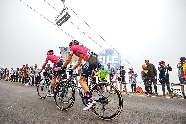 Neilson Powless (USA) and Magnus Cort Nielsen (DEN) EF Education-Nippo climb Col du Tourmalet during Stage 18 of the 2021 Tour de France, running 129.7km from Pau to Luz Ardiden, France. 15th July 2021.  <br /> Picture: A.S.O./Charly Lopez | Cyclefile<br /> <br /> All photos usage must carry mandatory copyright credit (© Cyclefile | A.S.O./Charly Lopez)