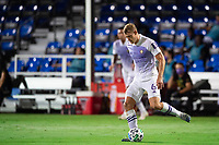 LAKE BUENA VISTA, FL - AUGUST 11: Robin Jansson #6 of Orlando City SC kicks the ball during a game between Orlando City SC and Portland Timbers at ESPN Wide World of Sports on August 11, 2020 in Lake Buena Vista, Florida.