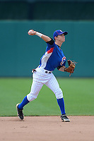 Shortstop Zachary McKinstry (4) of North Side High School in Fort Wayne, Indiana playing for the Chicago Cubs scout team during the East Coast Pro Showcase on August 1, 2013 at NBT Bank Stadium in Syracuse, New York.  (Mike Janes/Four Seam Images)