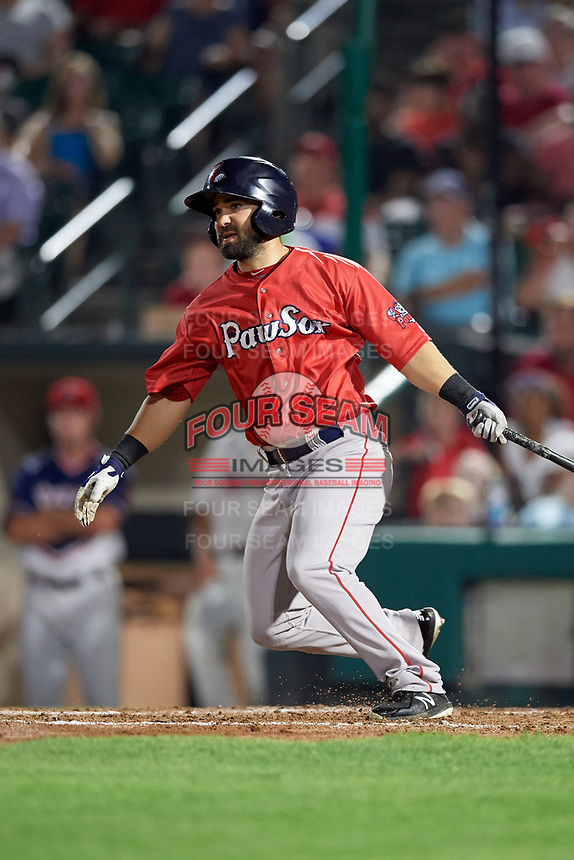 Pawtucket Red Sox second baseman Mike Miller (10) hits a single during a game against the Rochester Red Wings on July 4, 2018 at Frontier Field in Rochester, New York.  Pawtucket defeated Rochester 6-5.  (Mike Janes/Four Seam Images)