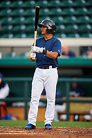 Lakeland Flying Tigers shortstop David Gonzalez (1) at bat during a game against the Jupiter Hammerheads on April 17, 2017 at Joker Marchant Stadium in Lakeland, Florida.  Lakeland defeated Jupiter 5-1.  (Mike Janes/Four Seam Images)