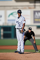 Lakeland Flying Tigers starting pitcher Elvin Rodriguez (31) during a Florida State League game against the Palm Beach Cardinals on May 22, 2019 at Publix Field at Joker Marchant Stadium in Lakeland, Florida.  Palm Beach defeated Lakeland 8-1.  (Mike Janes/Four Seam Images)