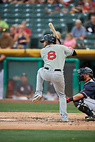 Diego Goris (8) of the El Paso Chihuahuas bats against the Salt Lake Bees at Smith's Ballpark on July 5, 2018 in Salt Lake City, Utah. El Paso defeated Salt Lake 3-2. (Stephen Smith/Four Seam Images)