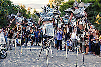 Stilt walkers in the street of Athens, Greece