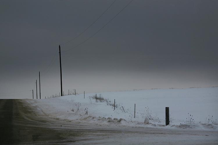 winter road, gray winter scene