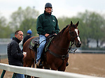 LOUISVILLE, KY -APR 25: Trainers Chad Brown (left) and Bill Mott (on horse) watch their horses work out for the Kentucky Derby at Churchill Downs, Louisville, Kentucky. (Photo by Mary M. Meek/Eclipse Sportswire/Getty Images)