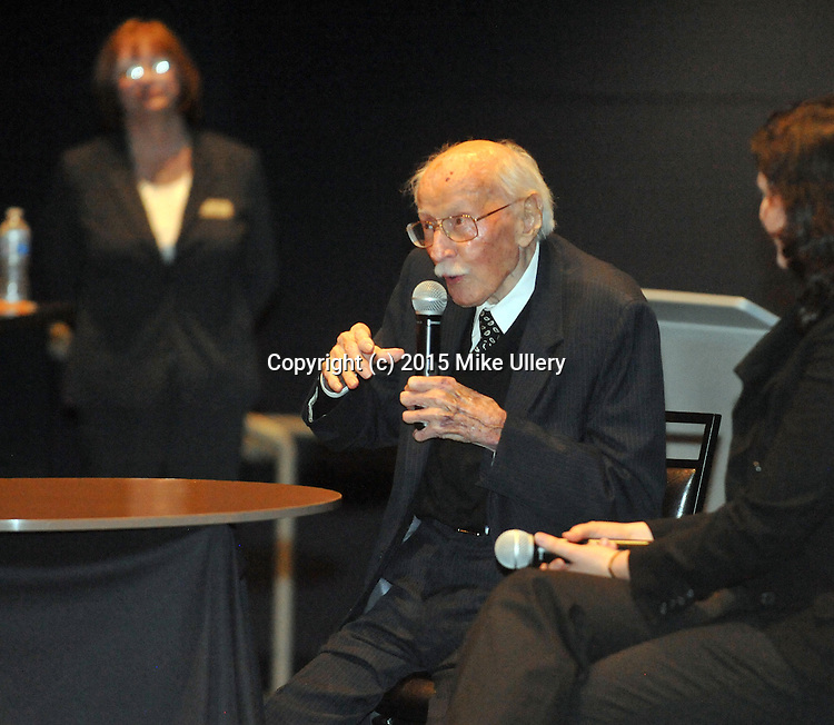 """The National Museum of the United States Air Force presented the film """"Flying the Feathered Edge, The Bob Hoover Project"""" as part of their Living History Film Series at the museum theatre on April 9, 2015. Special guests for the sold-out presentation were living legend and National Aviation Hall of Fame enshrinee R.A. """"Bob"""" Hoover and the film's producer Kim Furst."""