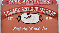 Sign for antique market, Bird in Hand, Pennsylvania, USA