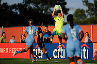 goalkeeper Jenni Branam (23) of Sky Blue FC grabs a pass. The Western New York Flash defeated Sky Blue FC 4-1 during a Women's Professional Soccer (WPS) match at Yurcak Field in Piscataway, NJ, on July 30, 2011.