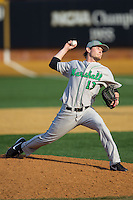Marshall Thundering Herd relief pitcher Kolin Stanley (13) in action against the Wake Forest Demon Deacons at Wake Forest Baseball Park on February 17, 2014 in Winston-Salem, North Carolina.  The Demon Deacons defeated the Thundering Herd 4-3.  (Brian Westerholt/Four Seam Images)