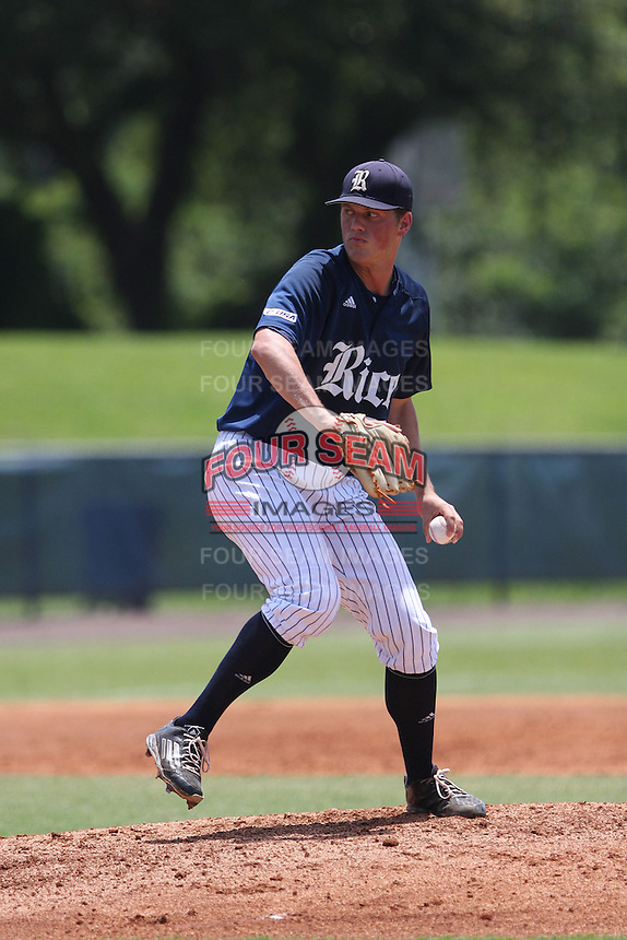 Starting pitcher Blake Fox (26) of the Rice University Owls in action against the Florida Atlantic Owls at FAU Baseball Stadium on May 10, 2015 in Boca Raton, Florida.  The Rice Owls defeated the FAU Owls 5-2.  (Stacy Jo Grant/Four Seam Images)