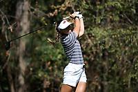 CHAPEL HILL, NC - OCTOBER 11: Maria Hoyos of the University of Arkansas tees off at UNC Finley Golf Course on October 11, 2019 in Chapel Hill, North Carolina.