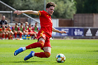 3rd September 2021; Newport, Wales:  Geroge Abbott 6 Wales dives for the ball during the U18 International Friendly,  match between Wales and England at Newport Stadium in Newport, Wales.
