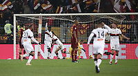 Football, Serie A: AS Roma - Genoa, Olympic stadium, Rome, December 16, 2018. <br /> Genoa's Krystof Piatek celebrates after scoring with his teammates during the Italian Serie A football match between Roma and Genoa at Rome's Olympic stadium, on December 16, 2018.<br /> UPDATE IMAGES PRESS/Isabella Bonotto