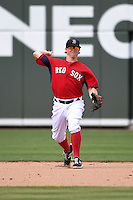 Boston Red Sox  second baseman Brock Holt (26) during a Spring Training game against the New York Mets on March 16, 2015 at JetBlue Park at Fenway South in Fort Myers, Florida.  Boston defeated New York 4-3.  (Mike Janes/Four Seam Images)