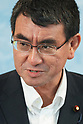 New Foreign Minister Taro Kono attends his first conference at MOFA