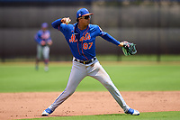 New York Mets third baseman Mark Vientos (87) throwing during a Minor League Spring Training game against the Houston Astros on April 27, 2021 at FITTEAM Ballpark of the Palm Beaches in Palm Beach, Fla.  (Mike Janes/Four Seam Images)