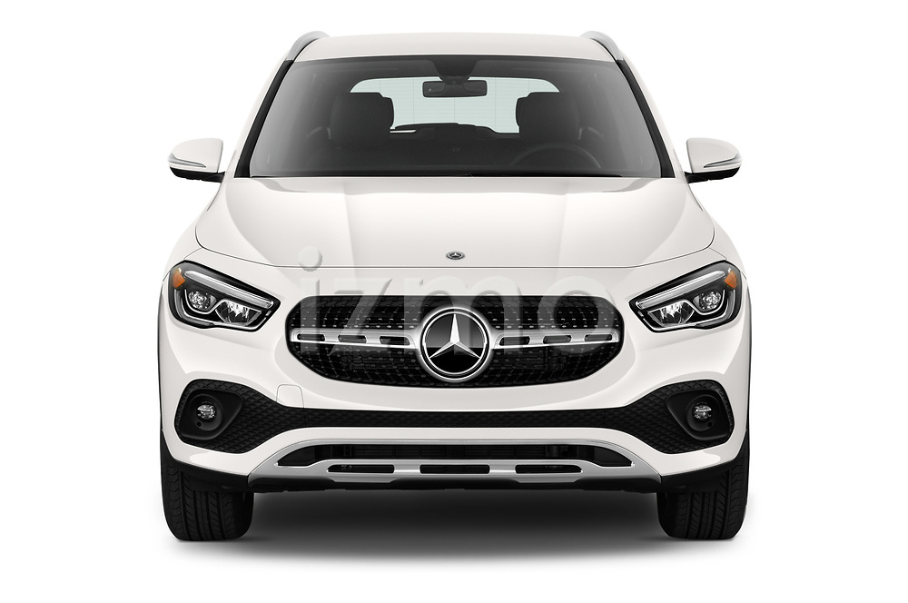 Car photography straight front view of a 2021 Mercedes Benz GLA GLA250 5 Door SUV Front View