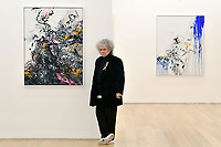 London, UK - 14 October 2020<br /> British artist Maggi Hambling with (L) Covid Spring, 2020 and (R) Self Portrait, working, 2020, at her new exhibition at Marlborough Gallery, where she has a solo exhibition to coinciding with her 75th birthday, featuring recent paintings responding to the seismic events of the present, works include a new series of self-portraits created in lockdown, a series depicting wild animals facing threat and intimate portraits of people laughing.<br /> CAP/JOR<br /> ©JOR/Capital Pictures