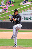 Lansing Lugnuts pitcher Maverik Buffo (44) delivers a pitch during a Midwest League game against the Wisconsin Timber Rattlers on May 8, 2018 at Fox Cities Stadium in Appleton, Wisconsin. Lansing defeated Wisconsin 11-4. (Brad Krause/Four Seam Images)